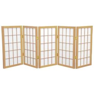 NEW Oriental Furniture Portable Accordian Collapsable Folding Screen 2-Feet, 24-Inch Tall Window Pane Japanese Condit...