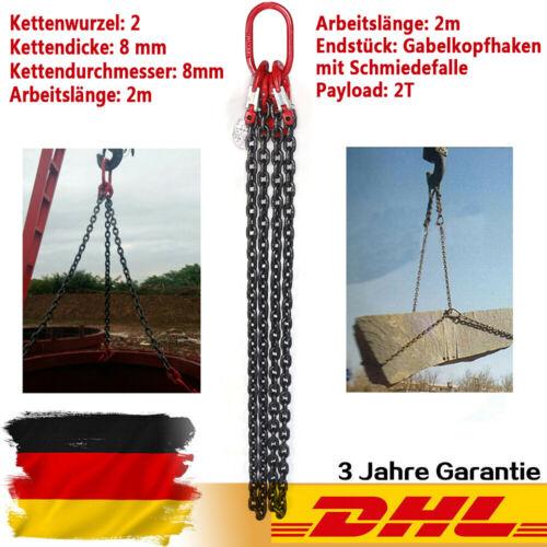 Kettengehänge 2 Strang 2m Länge 8MM Anschlagkette Krankette Hebewerkzeug DHL