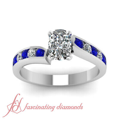 3/4 Ct Cushion Cut Diamond & Blue Sapphire Engagement Ring 14K VS1 GIA Certified 1