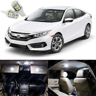 8 x Xenon White LED Lights Interior Package Kit Deal Best For CIVIC 2013 -