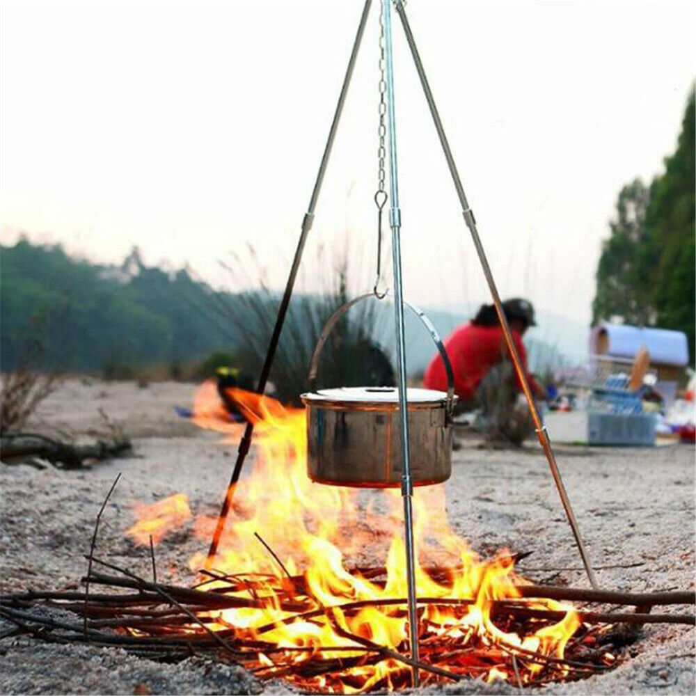 Outdoor Campfire Cooking Tripod Grill Grate Stand Camping Fire Pit Tool Aluminum