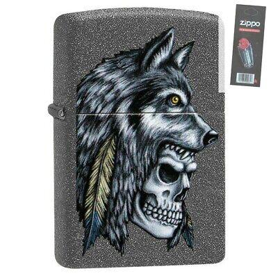Zippo 29863 Wolf Skull Feather Design Iron Stone Lighter + FLINT - Feather Zippo Lighter