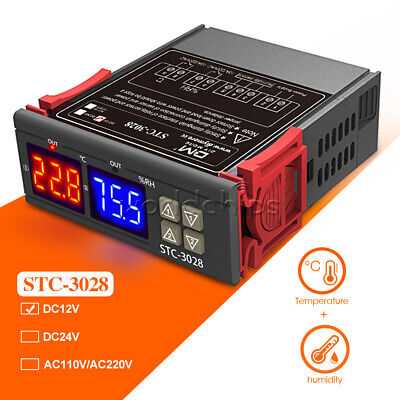 Stc-3028 Dc12v 10a Digital Dual Led Temperature Humidity Controller Thermostat