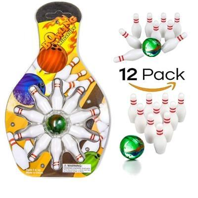Miniature Bowling Game Set -12 Pack Deluxe - For Kids, Playing, Party, -