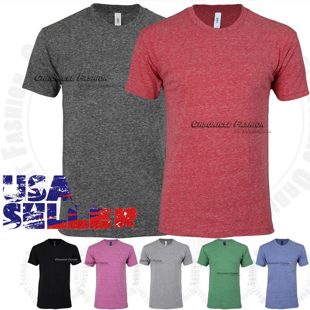 Mens Tri Blend T Shirts Crew Neck Short Sleeve Soft Plain So