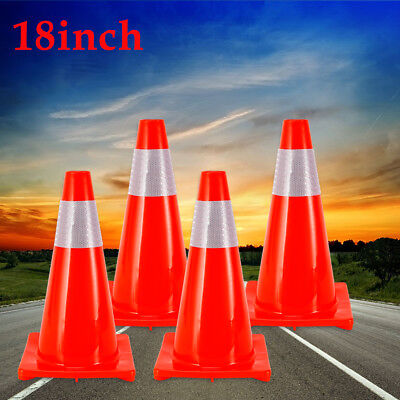 18 Traffic Safety Cones Road Safety Parking Cones Fluorescent Reflective Pvc