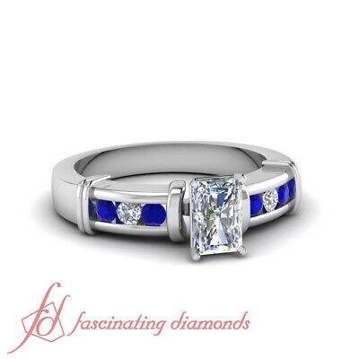 1.10 Ct Radiant Cut VVS1 Diamond & Blue Sapphire Engagement Ring Channel Set GIA