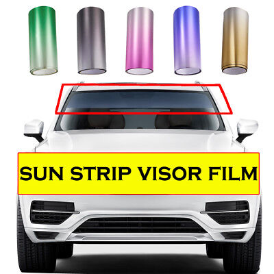 Car Window Sun Visor Strip Tint Film Front Windshield UV Shade DIY Decal Banner