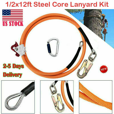 4yang Climb Right 12x12ft Steel Core Lanyard Kit Flipline Swivel Snap Kits New