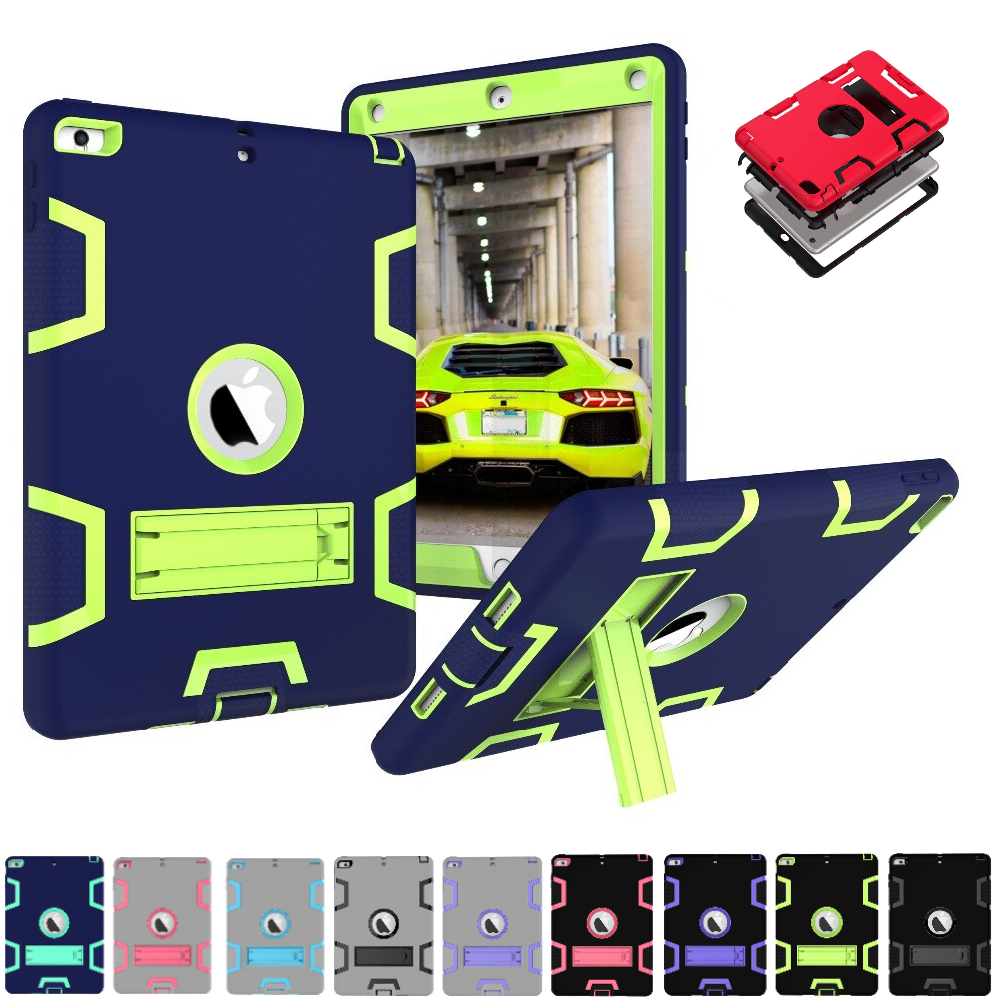 Shockproof Rubber Armor Case Hard Stand Cover For Apple iPad