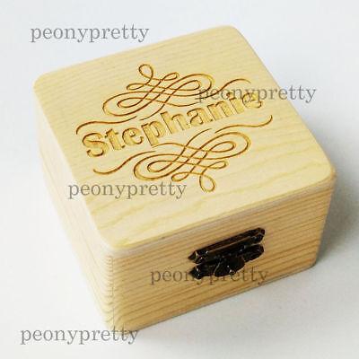 - Personalized Wooden Wedding Jewelry Gift Box Custom Bridesmaid Box Flower Girl