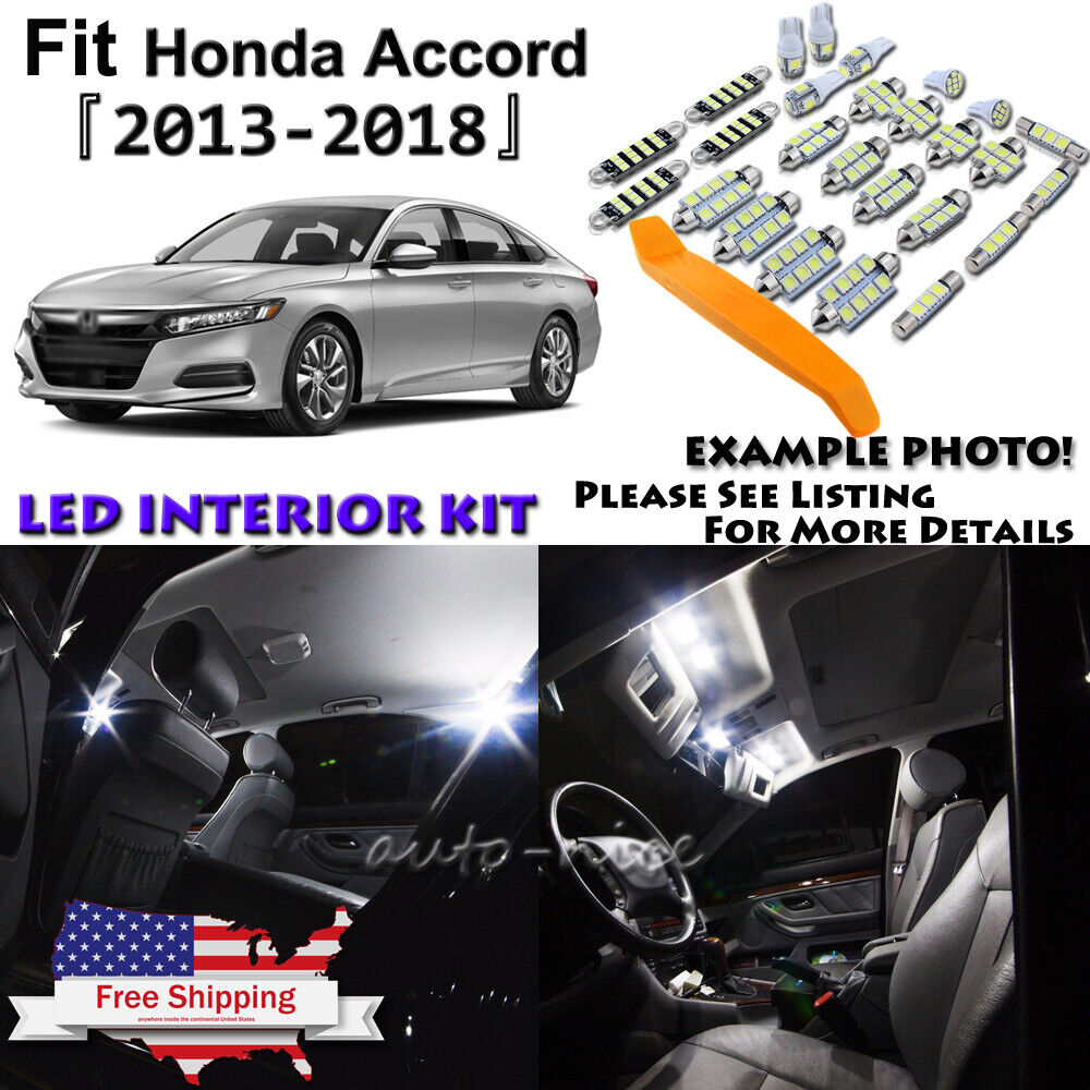 Auto Parts and Vehicles TOOL 16 x Xenon White Interior LED Lights Package For 2013-2018 Honda Accord