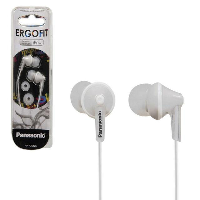 Brand new Panasonic Ergofit RP-HJE125E-K earphones in white for iphone ipod mp3