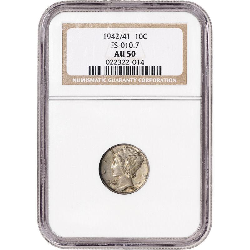 1942/41 US Mercury Silver Dime 10C - FS-010.7 - NGC AU50