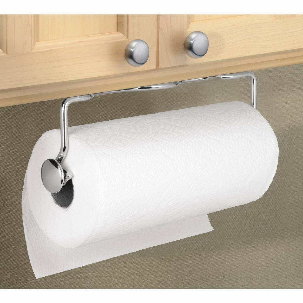 mDesign Versatile Metal Wall Mount Paper Towel Holder & Disp