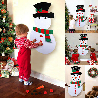 Christmas DIY Felt Snowman Kit Ornaments for Kid Xmas Gifts Wall Hanging Decor