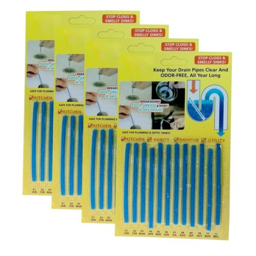 Recommended 12 pcs Magic Cleaning Sticks for Drain Pipes Bad Odor Neutralizer