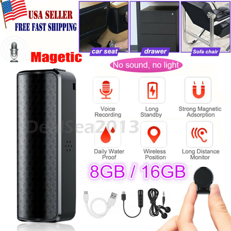 16GB Spy Recording Device Voice Activated Recorder Mini Magnetic Audio MP3 US