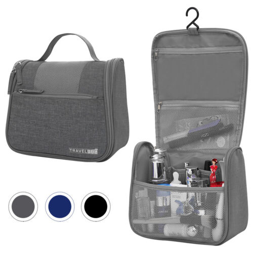 Portable Travel Cosmetic Bag Makeup Case Storage Zip Hanging
