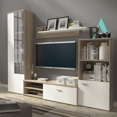 Living room furniture set TV unit cabinet glass display floating shelf