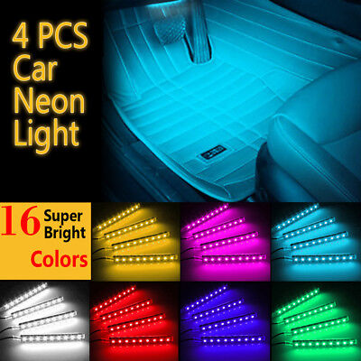 Car Interior RGB color LED 4Strip Light Atmosphere Decorative SMD Neon Lamp 12V