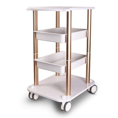 Display Cart Beauty Salon Styling Pedestal Abs Service Tray Salon Roll Trolley