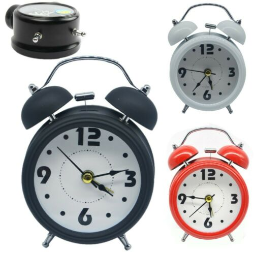 Retro Alarm Clock with Night Light Metal Bedside Wake Up Alarm Hammer Bell PICK
