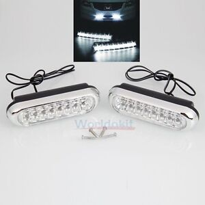 New-2X-Car-Truck-16-LED-Light-12V-Grille-Universal-Day-Fog-Driving-Bulb-White