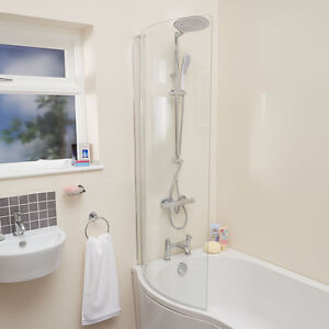 Bath Screen Hinged Curved Bathroom P Shape Shower Tub Glass 6mm Thick Chrome Ebay