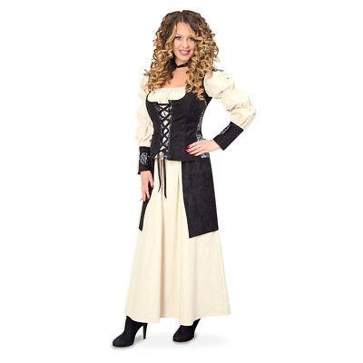 Mittelalter Kleid 2-tlg. Gewand Kleid Kostüm für Damen Bluse Rock 12240813F ()