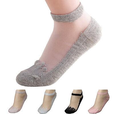 Ultrathin Lace Transparent Beautiful Sock Crystal Lace Elastic Short Stockings