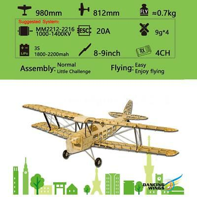 Dancing  Hobby S1901 Balsa Wood RC Airplane Tiger Moth Remote Control I0G0