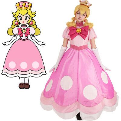Toadette Princess Peach Peachette Cosplay Costume Fancy Dress Outfit](Princess Peach Dress)