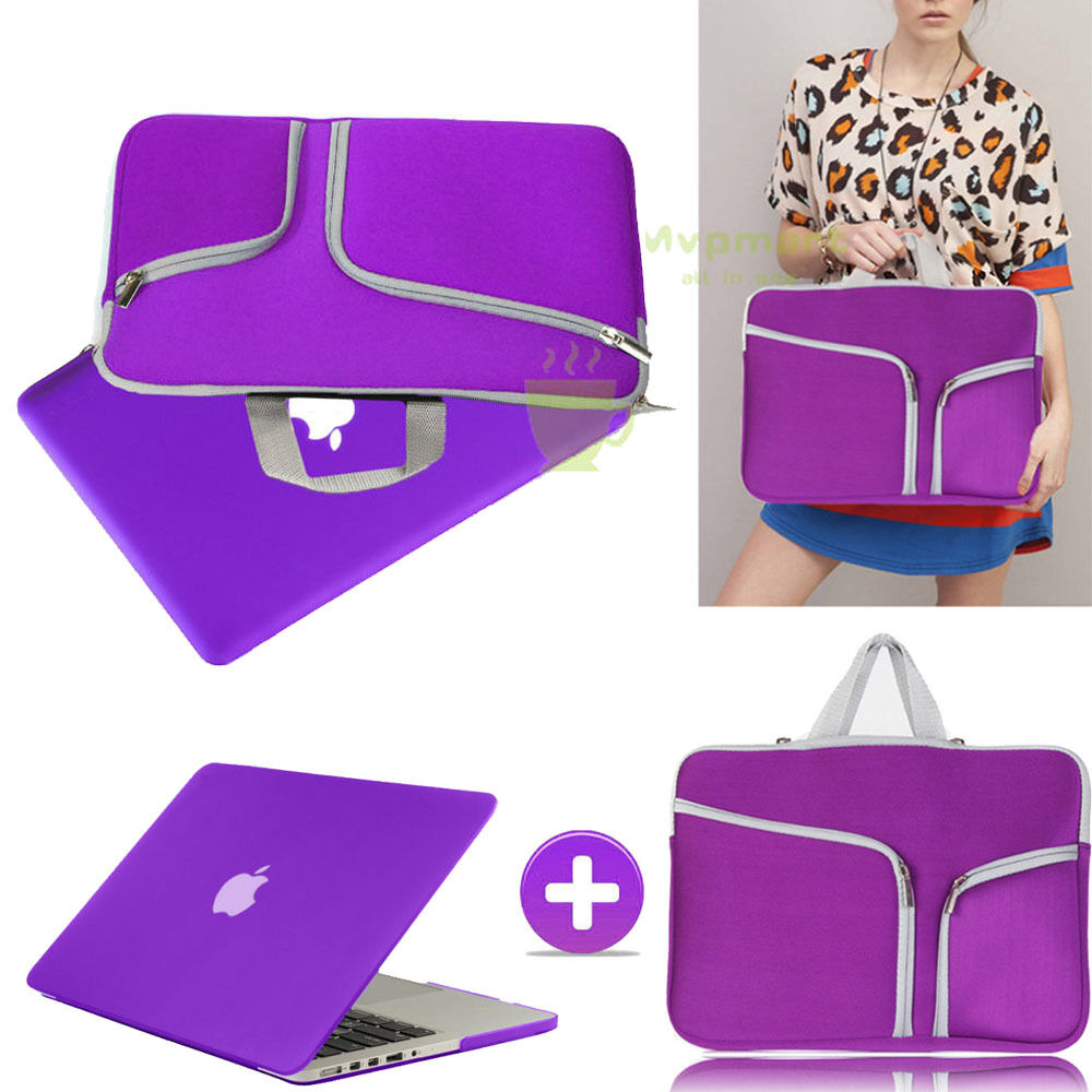 Purple Rubberized Case Cover +sleeve Bag For Macbook Pro ...