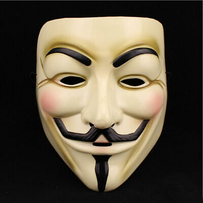 V For Vendetta Yellow Mask Guy Fawkes Anonymous Party Masks Fancy Cosplay New US