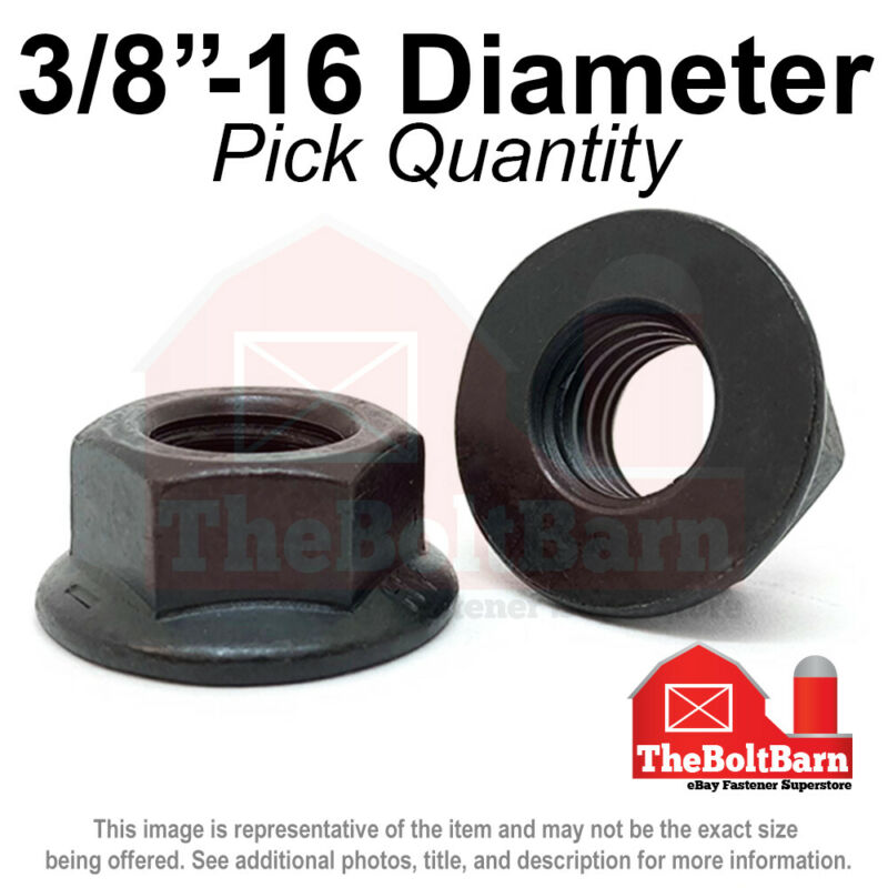 "3/8""-16 Grade 8 Smooth Hex Flange Nuts Coarse Black Phos & Oil (Pick Qty)"