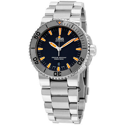 Oris Aquis Grey Dial Stainless Steel Men's Watch 73376534158MB