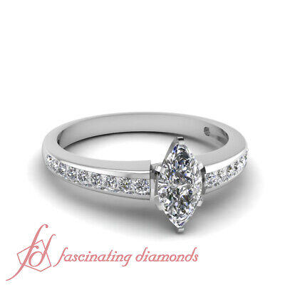 .70 Ct Channel Set Marquise Cut D-Color Diamond Engagement Rings Womens 14K GIA