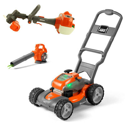 Husqvarna Kids Toy Lawn Mower, Orange + Toy Leaf Blower + Toy Lawn Trimmer