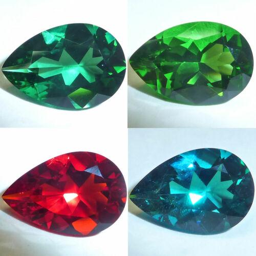 Lab Created Helenite Pear Faceted Loose Gemstones Fine Cut AA+