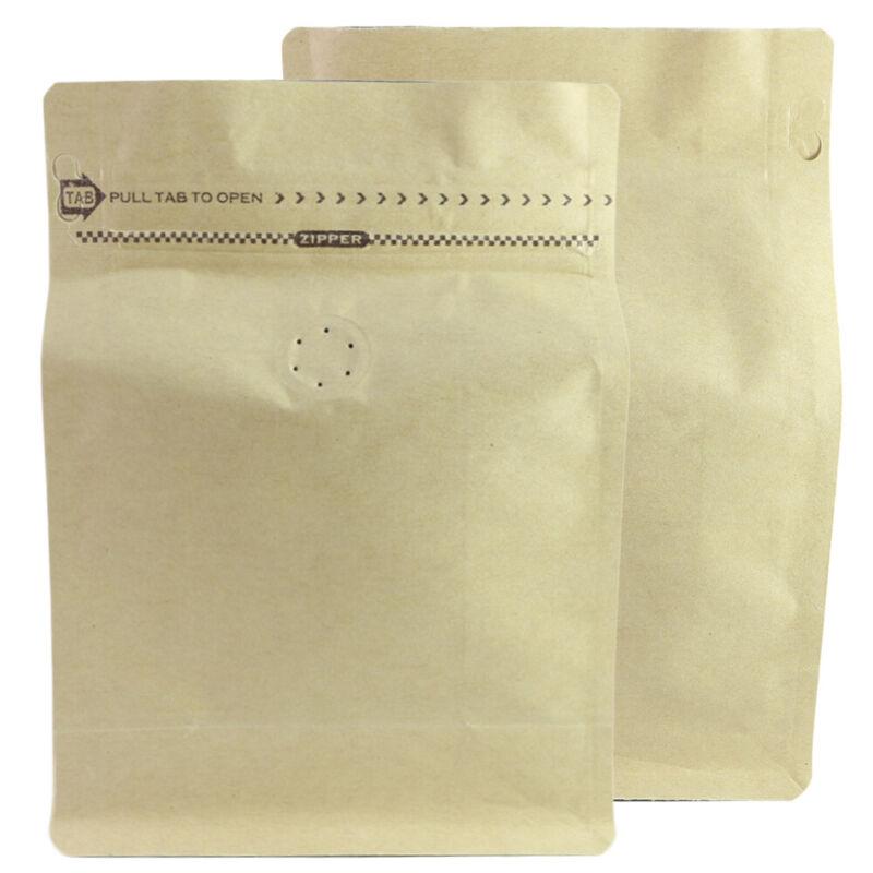 Sample/25 8oz Kraft Flat Bottom Coffee Storage Zip Bag Degassing Valve+Pull Tab