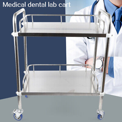 Portable Laboratory Lab 2 Layers Cart Trolley Stainless Steel Serving Equipment