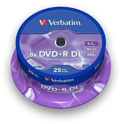 VERBATIM ROHLINGE DVD+R Double Layer 8 x SPEED / 8,5 GB / 25er SPINDEL Nr. 43757