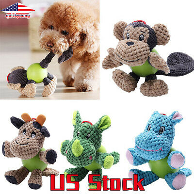 Puppy Chew Plush Corduroy Fabric Dog Toys Pet Animals Squirrel Cotton Rope Bird