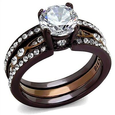 Chocolate Wedding Ring (2.75 Ct Round Cut CZ Chocolate Stainless Steel Wedding Ring Set Women's SZ)
