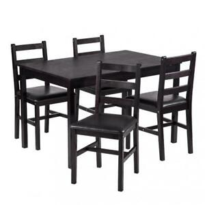 NEW 5 PCS DINING TABLE SET DARK BROWN 4 CHAIRS DS47