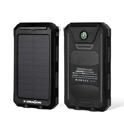 300000mAh Little External Solar Power Bank 2USB Battery Charger for Cell Phone