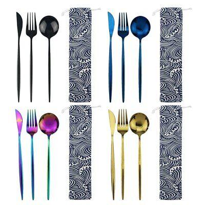 Flatware 18/10 Stainless Steel 3pcs/set Mirror Rainbow Portable Travel Cutlery  10 Stainless Steel Flatware Set