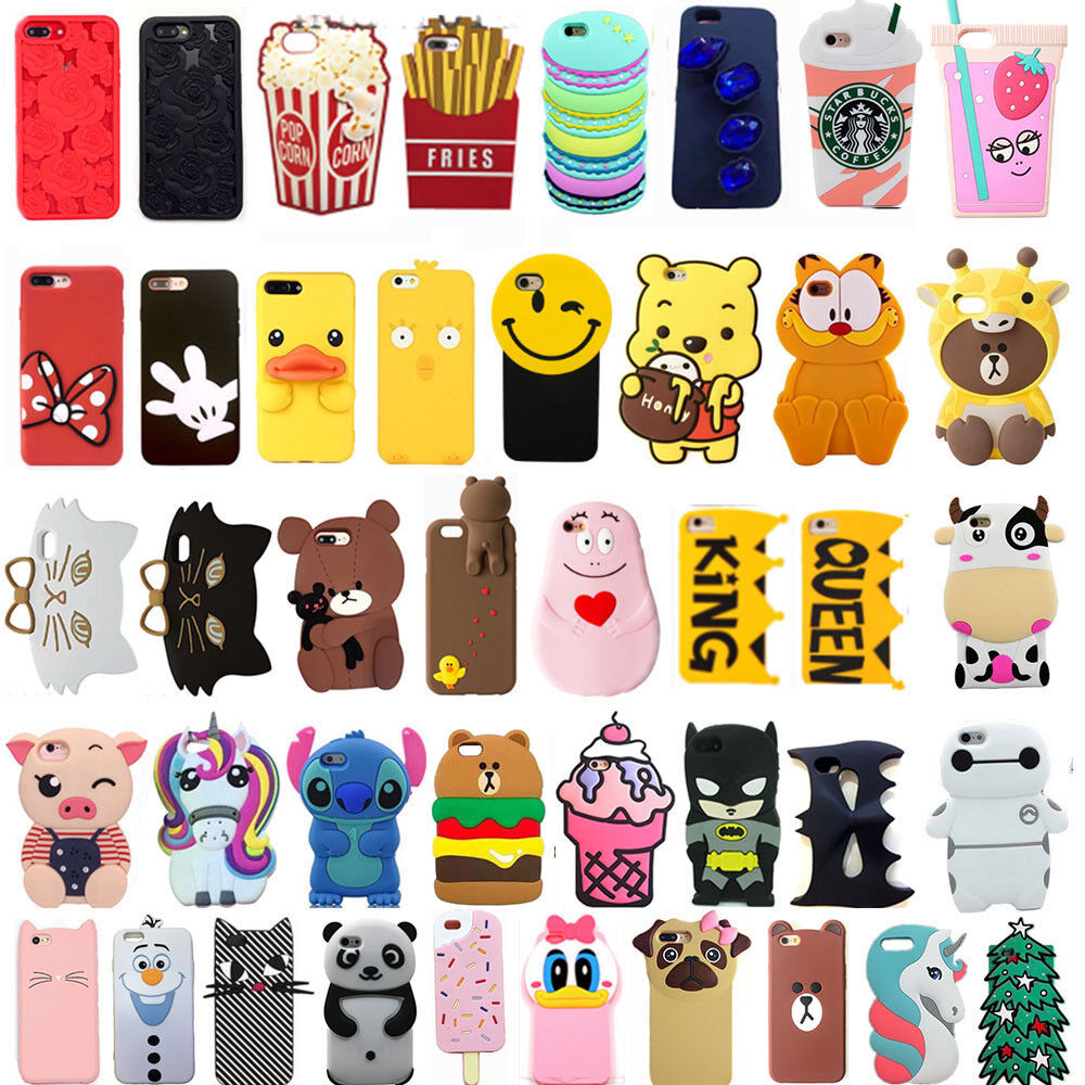 For iPhone SE 5 5s 5c Hot 3D Soft Silicone Rubber Cute Carto