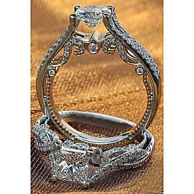 Vintage Style Engagement Infinity Ring 2 CT Princess Cut Diamond 14K White